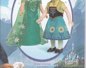 "Simplicity 1088 Doll Clothes 18"" Disney Frozen Fever Anna Elsa Cape Skirt Sewing Pattern New UNCUT"