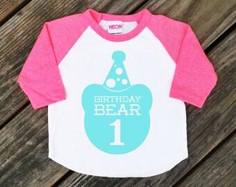 First Birthday Bear Baby Infant Neon Heather Pink Raglan Sleeve Baseball Shirt with Aqua Blue Print