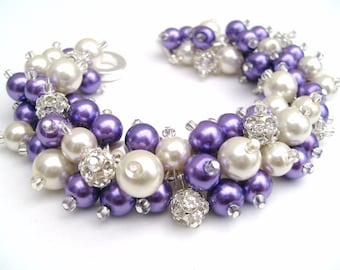 Bridal Jewelry, Purple Wedding, Pearl Bridesmaid Bracelet, Pearl and Rhinestone Bracelet, Cluster Bracelet, Purple Bracelet, Bridesmaids