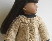 18 Inch Doll Clothes - Knit Beige Cardigan Sweater with Cabled Yoke and Trim Handmade to Fit the American Girl Doll