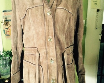 Amazing leather 1970's jacket with a hood!! Size M