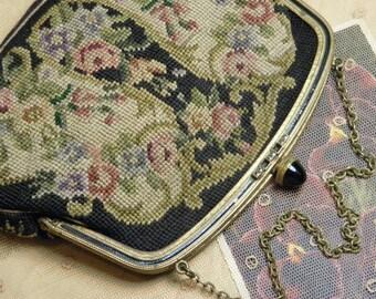 Vintage Purse Wool Floral Tapestry Evening Handbag