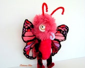 Plush Butterfly, Art toy , Soft art doll, 9 inches tall,Butterfly Rosita