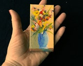 Miniature Painting Floral Canvas Art, Tiny Flower Bouquet, Mini Easel Optional, Birthday or Teacher Gift