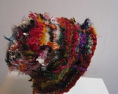 "multicolor fabric hat, striped hat, brimmed fabric hat, sari scrap hat, spring hat, fabric scrap hat, wild hat, bucket hat ""flora"""