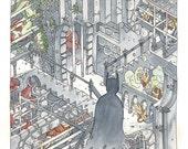 Batman - print of Arkham Asylum illustration