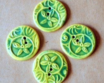 4 Handmade Ceramic Starflower Buttons - Flower buttons in Spring Green