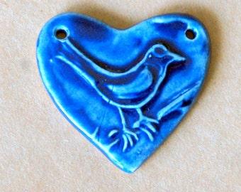 Sweet Ceramic Bead - Bird in a Handmade Heart Pendant Bead - Blue Bird Bead