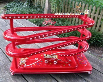 Marble Roller Wooden Toy Handmade Marble Chaser Red Hand Painted Red Wagon Unique