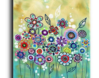 Gallery Canvas and Fine Art Prints Colorful Garden Flower Landscape Whimsical Modern Abstract Elena