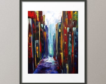 Cityscape Art Prints and Gallery Canvases Skyline Painting Architecture Buildings Street Modern Abstract Contemporary Elena