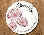 Customized Thank You Stickers - Three Flowers Dark Red - Wedding - Party - Packaging Display - Thank You Stickers
