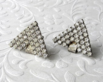 Cute Little Chevron Rhinestone Shoe Clips Vintage Costume Jewelry Accessory  Wedding Bridal Formal Prom Special Occasion Accessories