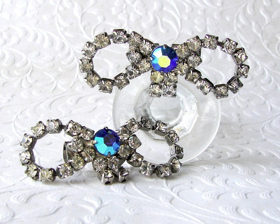 1950's Rhinestone Bow Shoe Clips Blue Aurora Borealis Teal AB Vintage Costume Jewelry Accessory Wedding Pageant Ballroom Formal Repaired
