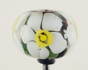 Daffodil and Purple Handmade Lampwork Focal Bead by Lara