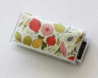 Mini Card Holder - Tea Garden, Dear Sukie, mini card, moo card, tree wallet, small wallet, snap, vinyl, paper, floral, flowers, fruits