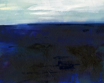 "Blue Abstract Landscape Oil Painting, Nature Art, ""JOURNEY 56""  Original Abstract Landscape Seascape Oil art by Kathy Morton Stanion EBSQ"
