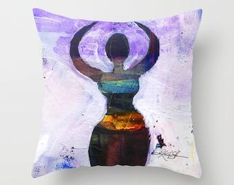 "Moon Goddess Pillow, Purple Painting, Art, ""Moon Goddess No. 1""  Pillow Cover from Original art painting by Kathy Morton Stanion  EBSQ"