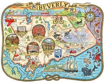 "Beverly Massachusetts Map 8""x10"" Art Print"