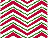 Christmas Basics, Red and White Chevron, cotton Fabric, Yard
