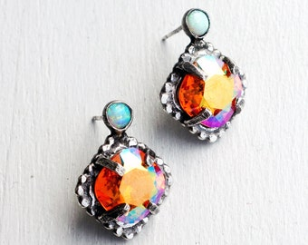 Sunrise Crystal Studs with Opals