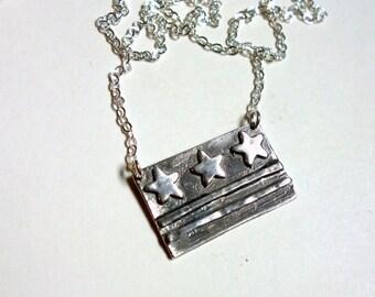 Small Handmade Washington DC Flag Necklace