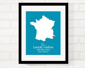 France Map Wedding Gifts, Personalized Wedding Country, Custom Country Map Print, First Year Anniversary, Paris Love -  Art Print