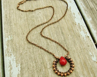 Deep Red Carnelian teardrop necklace wire wrapped with antiqued copper