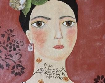 Ms. Kahlo Portrait.  Original Mixed Media Art