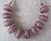 Two tone purple swirls - Lampwork Beads