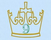 King / Prince Crown with Applique 9 Number Machine Embroidery Design File