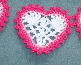 6 handmade pink and white cotton thread crochet applique hearts --  2306