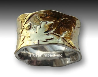 Silver Wedding Ring, Silver brass Ring, wide ring, unisex Band, vine ring, botanical ring, wide band, leaves ring - Unexpected moment R2089