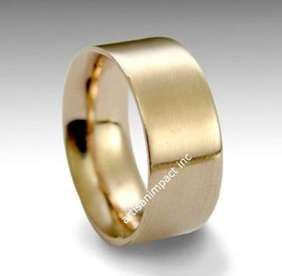 14K Rose Gold Ring, Men and Women Ring, Unisex Wedding Band, Gold Wedding Ring, Wide Wedding Band, Brushed Gold Ring - Perfect day RG1080