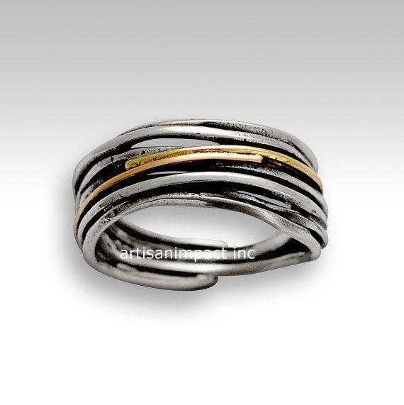 Matching wedding bands, Sterling silver band, wrapped silver band, rose yellow gold band, two tone ting, unisex band - Live the dream R1512G