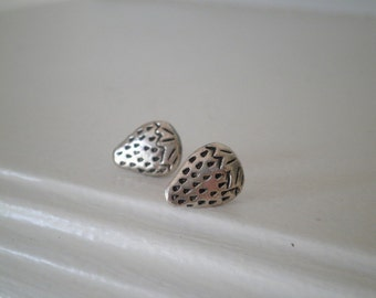 Silver Strawberry Stud Earrings - Juicy Summer Strawberry Fruit BFF Post Earrings - Sweet Everyday Berry Earrings - Cute Food Jewelry Gift