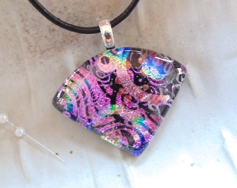 Pink Necklace, Statement Pendant, Dichroic Glass Pendant, Fused Glass Jewelry, Necklace Included, One of a Kind, A2