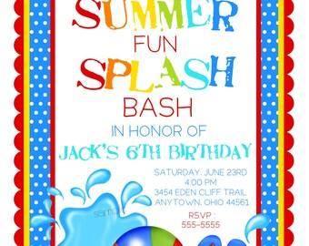 Pool Party Invitations, Splash Bash invitations, Boys, Birthday pool paty,  Summer, Beach, Flip flops, beach balls, Birthday, children