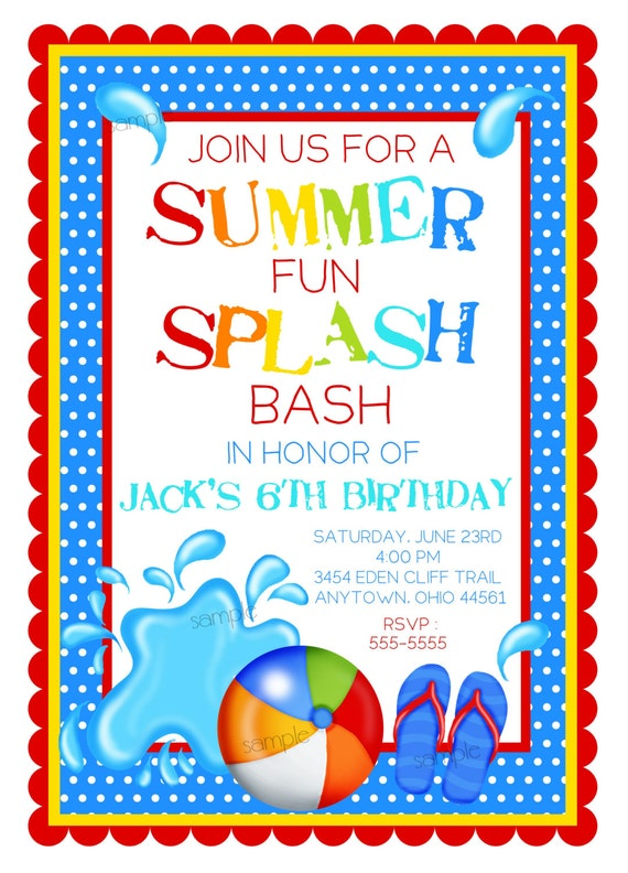 pool party invitations splash bash invitations boys birthday pool