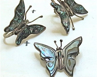 Mother of Pearl Butterflies - Earrings and Brooch Set of 3 - Vintage 1960s - Made in Mexico Taxco Sterling