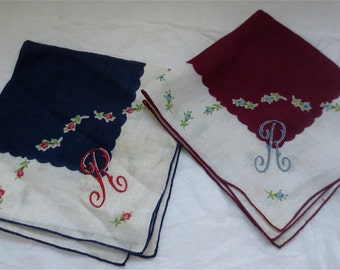 Initial R Square Handkerchief - Cotton Lawn Embroidered with R  - 10 Inch Square - Set of 2
