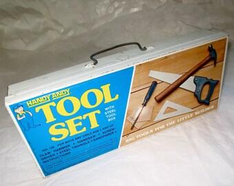 Handy Andy Tool Box - Metal Box - Toy Box - Cash or Supplies Box Office Organizing