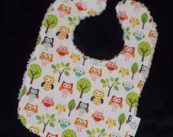 White Lazy Owls Fabric and Chenille Boutique Bib