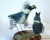 Fish Food Time - OOAK Hand Carved Parent and Chick, Carved in California, Mixed Medium Piece - Kingfishers On Fisher's Wax