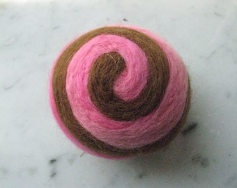 One multi-colored felted pin-cushion, Pink and Brown