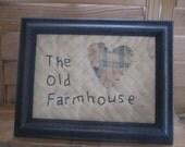 Primitive Stitchery - black frame - The Old Farmhouse - old quilt - heart