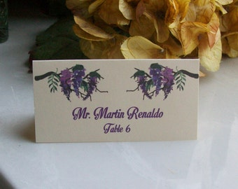 Tented Place Card - Escort Card - Customized - Wisteria - Nature - Flowers - Floral Watercolor