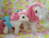Vintage My Little Pony Toys..G1 Sundance...Adorable Mama and Baby Pony Toys