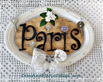 Paris Wall Tray Art or Door Decor, Hand Painted, Designed, Display, Gift, Collectible, ECS