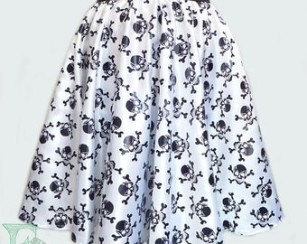 Satin Skulls Full Circle Skirt, wide elastic waistband. Size 6-22